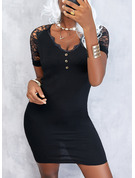Sólido Cubierta Manga Corta Mini Pequeños Negros Elegante Vestidos de moda