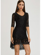 Lace Solid Sheath 3/4 Sleeves Mini Little Black Party Dresses
