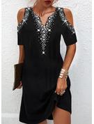 Print Shift Short Sleeves Mini Elegant Dresses