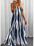 印刷 シフトドレス ノースリーブ マキシ カジュアル 休暇 タイプ ファッションドレス