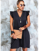 Sólido Vestidos soltos Sem mangas Mini Vestido Preto Casual Vestidos na Moda