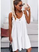 Jednolity Żabot Sukienka Trapezowa Bez Rękawów Mini Nieformalny Łyżwiaż Modne Suknie