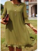 Solid Shiftklänningar 3/4 ärmar Flare Ärm Mini Fritids Elegant Tunika Modeklänningar