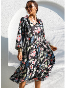 フローラル 印刷 Aラインワンピース 1/2袖 ミディ カジュアル 休暇 スケーター ファッションドレス