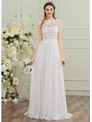 A-Line/Princess Scoop Neck Sweep Train Chiffon Wedding Dress With Bow(s)