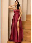 A-Line V-neck Floor-Length Satin Prom Dresses With Split Front Pockets