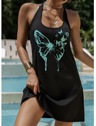 Animal Print Sheath Sleeveless Mini Casual Vacation Tank Dresses