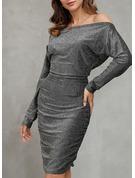 Solid Bodycon Long Sleeves Midi Party Elegant Pencil Dresses