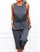 Einfarbig Etui Ärmellos Maxi Lässige Kleidung Jumpsuits Modekleider
