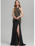 Trumpet/Mermaid Scoop Neck Sweep Train Stretch Crepe Prom Dresses With Split Front