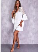 Solid Skiftekjoler 3/4 ærmer Midi Elegant Mode kjoler
