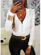 Einfarbig V-Ausschnitt Lange Ärmel Lässige Kleidung Blusen