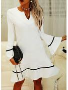 Print Sheath Flare Sleeve Long Sleeves Mini Party Elegant Dresses