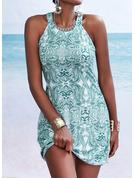 Druck Etui Ärmellos Mini Lässige Kleidung Urlaub Modekleider
