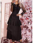 Lace Solid A-line Long Sleeves Maxi Little Black Party Elegant Skater Dresses