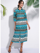 Print A-line 1/2 Sleeves Maxi Boho Casual Vacation Dresses