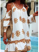 Floral Print Shift Cold Shoulder Sleeve Long Sleeves Mini Casual Vacation Tunic Dresses