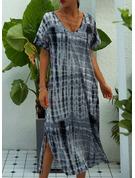 Impresión Vestidos sueltos Manga Corta Maxi Casual Vacaciones Vestidos de moda