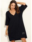 Sólido Vestidos sueltos Mangas 3/4 Midi Pequeños Negros Casual Túnica Vestidos de moda