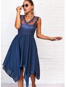 Koronka Jednolity Sukienka Trapezowa Bez Rękawów Asymetryczny Nieformalny Łyżwiaż Modne Suknie