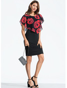 Blommig Åtsittande Korta ärmar Midi Fritids Elegant Modeklänningar