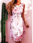Blommig Print A-linjeklänning Ärmlös Midi Party tappning utformar Elegant skater Modeklänningar
