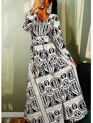 Estampado Vestido linha-A Manga Comprida Maxi Vintage Skatista Vestidos na Moda