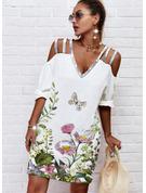 Animal Print Floral Print Shift 1/2 Sleeves Midi Casual Tunic Dresses