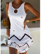 Imprimeu Shift Elbiseleri Kolsuz Mini Boho gündelik Tatil Întreg Moda Elbiseler