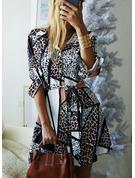 Leopard A-Linien-Kleid Lange Ärmel Mini Lässige Kleidung Hemdkleider Skater Modekleider