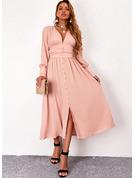 Solid Kjole med A-linje Lange ærmer Midi Casual skater Mode kjoler