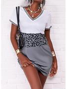 leopardo Blocchi di colore Abiti dritti Maniche corte Mini Casuale Vestiti di moda