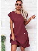 固体 シフトドレス キャップスリーブ ミディ カジュアル ファッションドレス