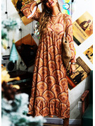 Print A-line Flare Sleeve Long Sleeves Maxi Boho Vacation Skater Dresses