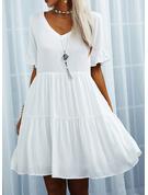 Solid Shiftklänningar Korta ärmar Mini Fritids Tunika Modeklänningar