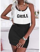 Color Block Print Letter Shift Sleeveless Mini Casual Dresses