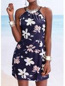 Kwiatowy Nadruk Pokrowiec Bez Rękawów Mini Nieformalny Wakacyjna Rodzaj Modne Suknie