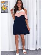 Trozos de color Impresión Vestidos sueltos Mangas 1/2 Mini Casual Túnica Vestidos de moda