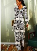 Tisk Do tvaru A Dlouhé rukávy Maxi Vinobraní Skaterové Módní šaty