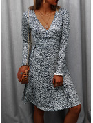 Print A-line Long Sleeves Midi Casual Vacation Skater Wrap Dresses