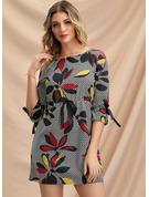Blumen Druck Figurbetont 3/4 Ärmel Mini Lässige Kleidung Modekleider