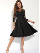 Blonder Solid Kjole med A-linje 3/4 ærmer Midi Den lille sorte Casual skater Mode kjoler