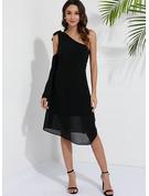 Sólido Vestidos sueltos Manga Larga Asimétrico Casual Túnica Vestidos de moda