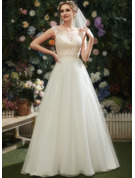 A-Line Illusion Court Train Wedding Dress With Lace Beading Sequins