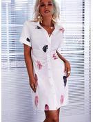 Impresión Cubierta Manga Corta Mini Casual Camisa Vestidos de moda