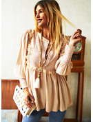 Blonder Solid V-hals Lantern ærmer Lange ærmer Button-up Casual Skjorter