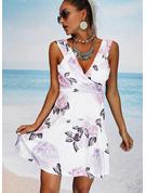 Kwiatowy Nadruk Pokrowiec Bez Rękawów Mini Nieformalny Wakacyjna Modne Suknie