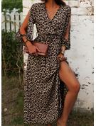 Blommig Print A-linjeklänning Ärmlös Maxi Boho Fritids Semester skater Modeklänningar
