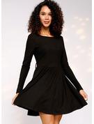 Solid A-line Long Sleeves Mini Little Black Casual Elegant Skater Dresses