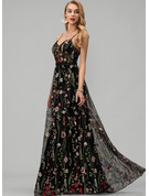 A-Line V-neck Floor-Length Lace Evening Dress With Beading